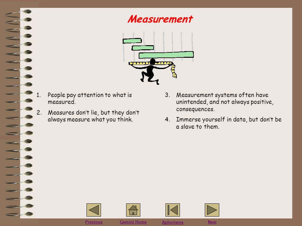 Measurement People pay attention to what is measured.