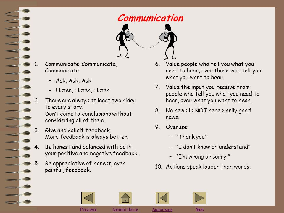 Communication Communicate, Communicate, Communicate. Ask, Ask, Ask