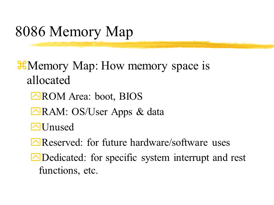 8086 Memory Map Memory Map: How memory space is allocated