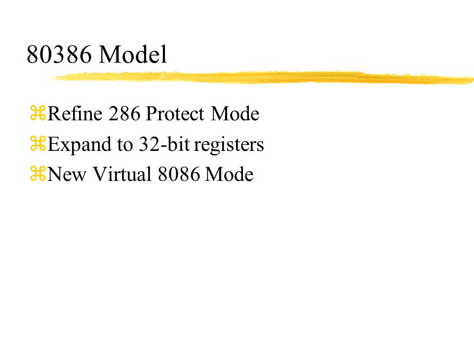 80386 Model Refine 286 Protect Mode Expand to 32-bit registers
