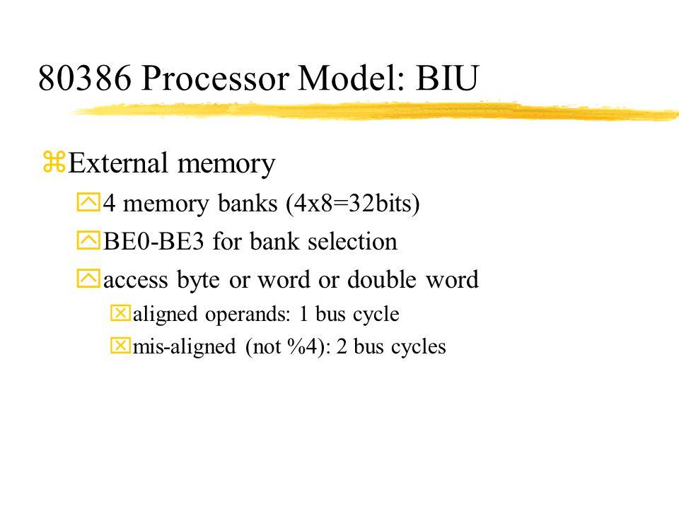80386 Processor Model: BIU External memory 4 memory banks (4x8=32bits)