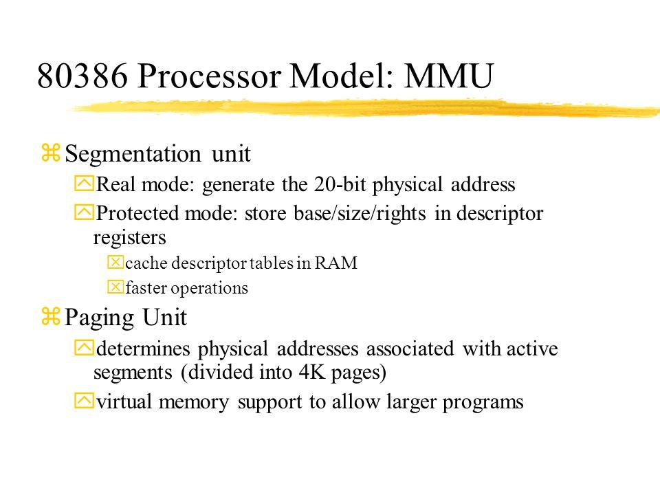 80386 Processor Model: MMU Segmentation unit Paging Unit