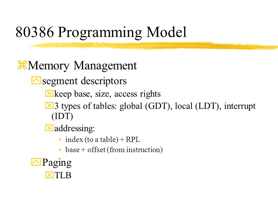 80386 Programming Model Memory Management segment descriptors Paging