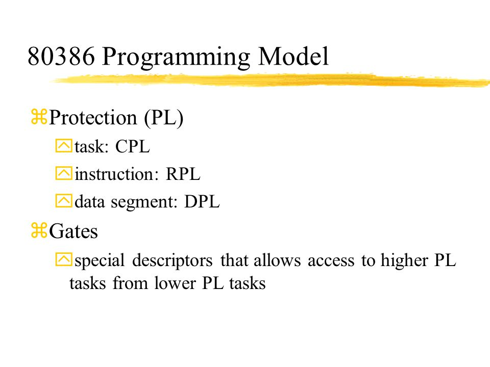 80386 Programming Model Protection (PL) Gates task: CPL