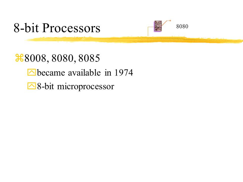 8-bit Processors 8008, 8080, 8085 became available in 1974