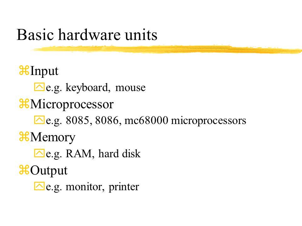Basic hardware units Input Microprocessor Memory Output