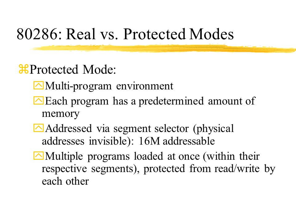 80286: Real vs. Protected Modes