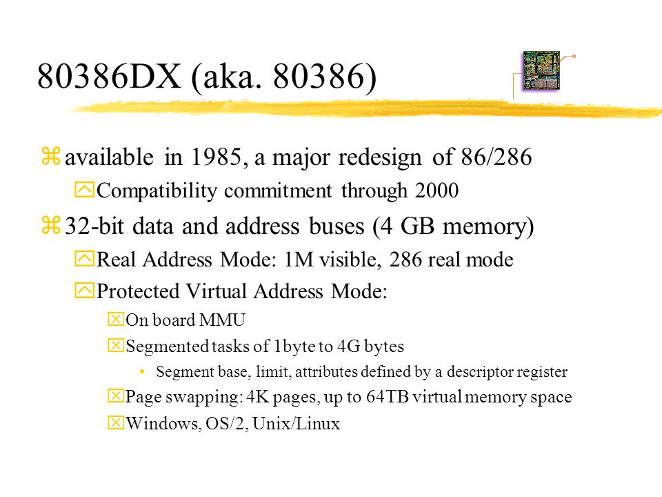 80386DX (aka. 80386) available in 1985, a major redesign of 86/286