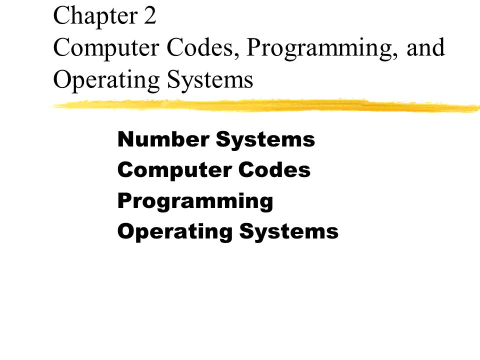 Chapter 2 Computer Codes, Programming, and Operating Systems