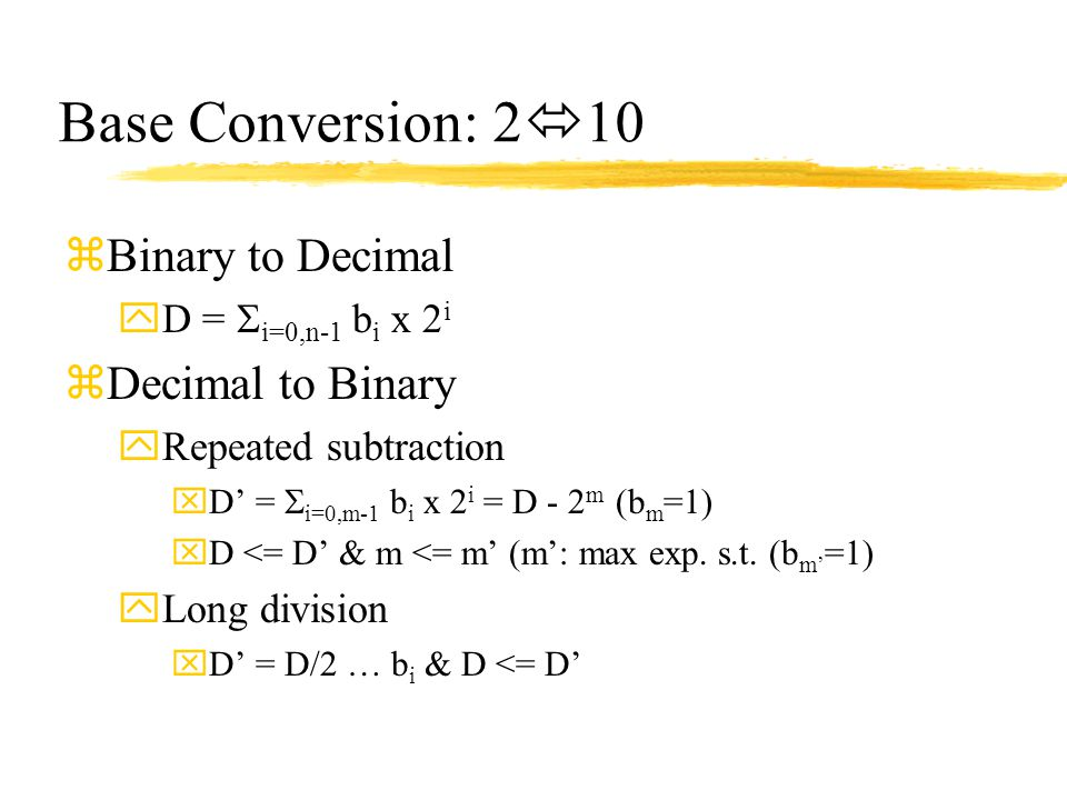 Base Conversion: 210 Binary to Decimal Decimal to Binary