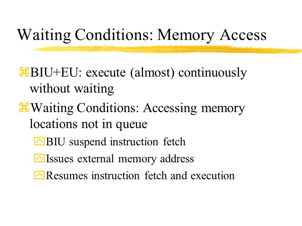 Waiting Conditions: Memory Access