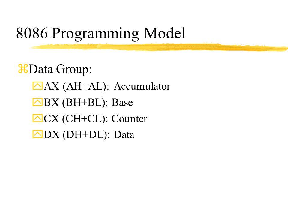 8086 Programming Model Data Group: AX (AH+AL): Accumulator