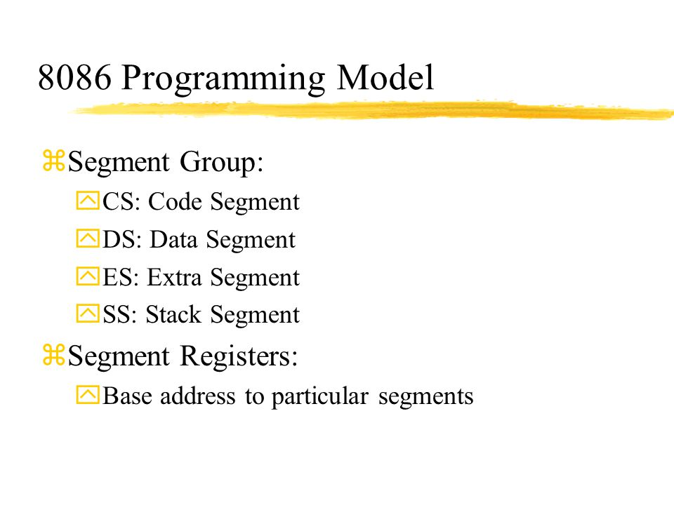 8086 Programming Model Segment Group: Segment Registers: