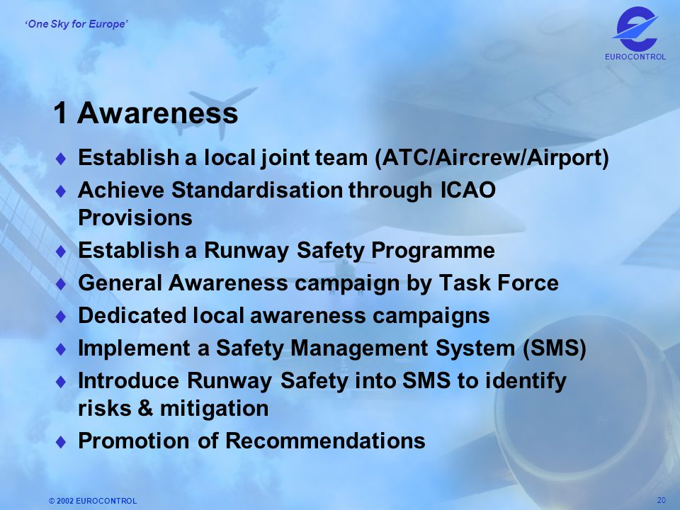 1 Awareness Establish a local joint team (ATC/Aircrew/Airport)