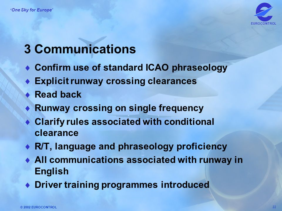 3 Communications Confirm use of standard ICAO phraseology