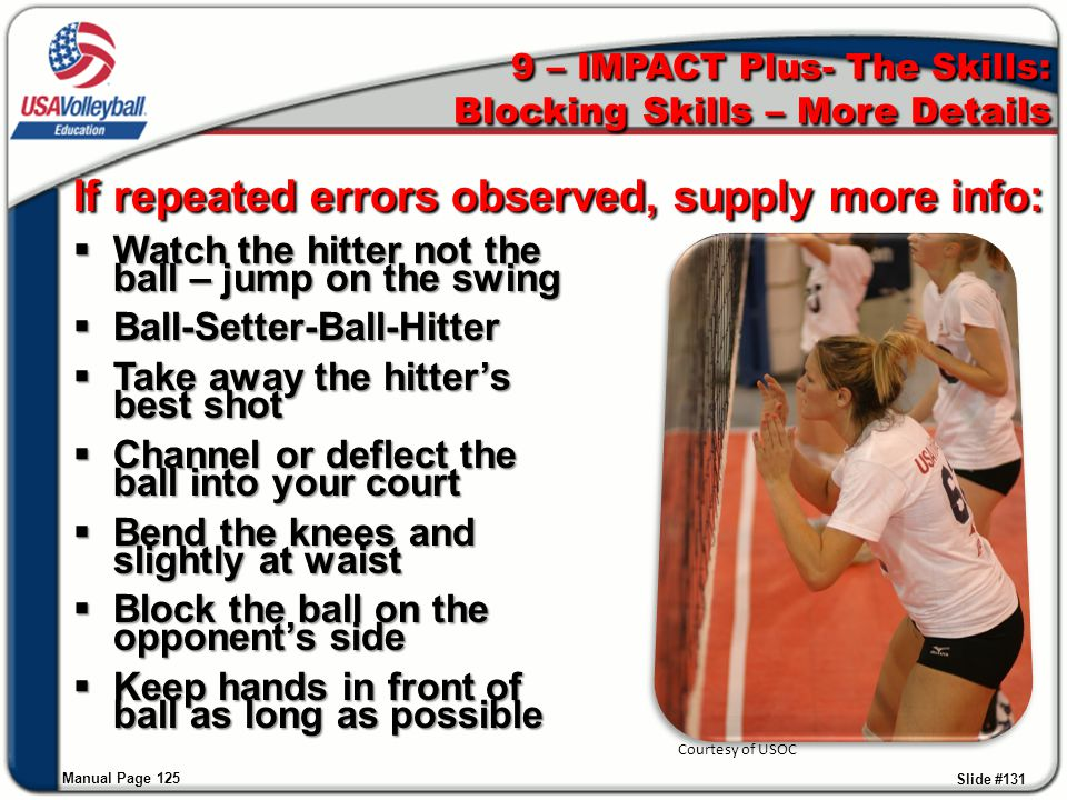 9 – IMPACT Plus- The Skills: Blocking Skills – More Details