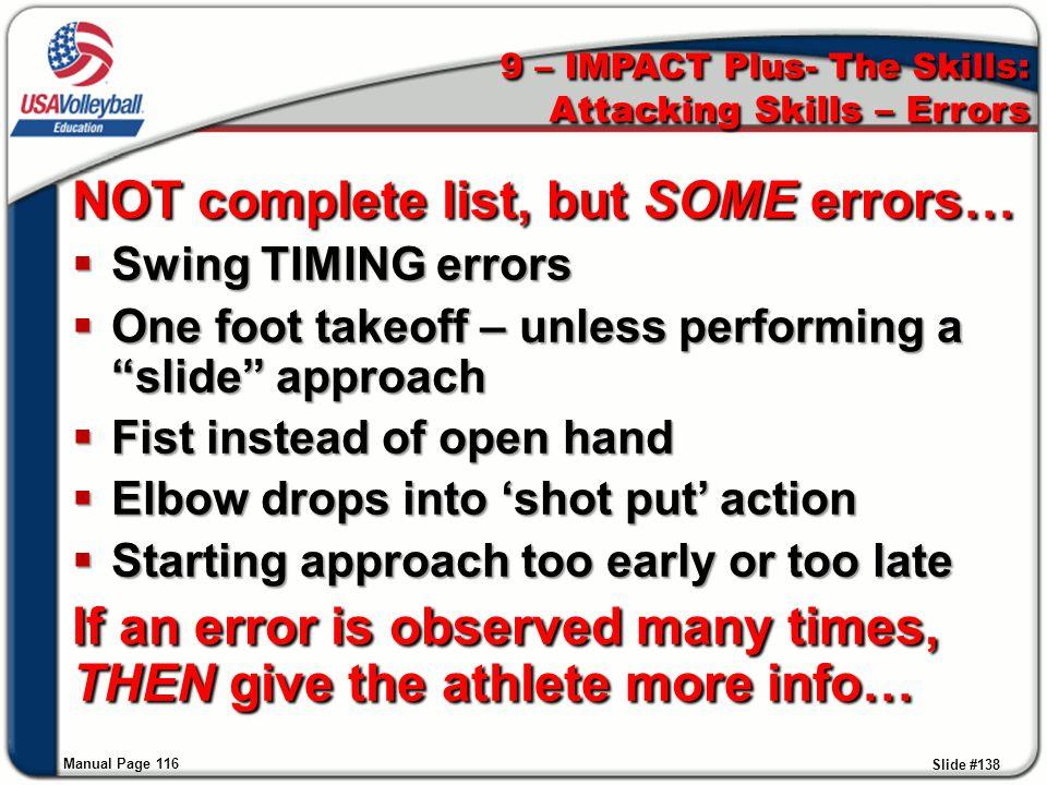 9 – IMPACT Plus- The Skills: Attacking Skills – Errors