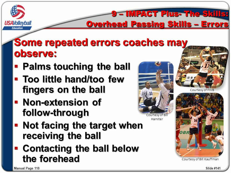 9 – IMPACT Plus- The Skills: Overhead Passing Skills – Errors