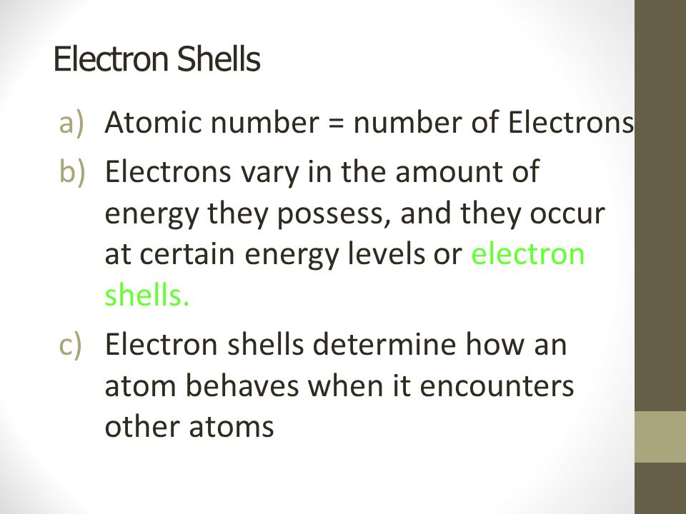 Electron Shells Atomic number = number of Electrons.