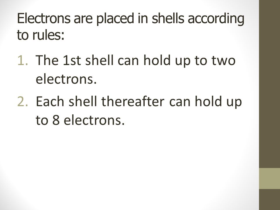 Electrons are placed in shells according to rules: