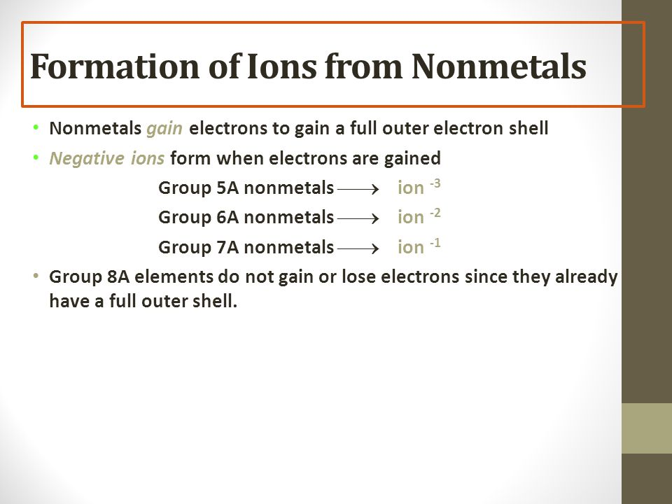 Formation of Ions from Nonmetals