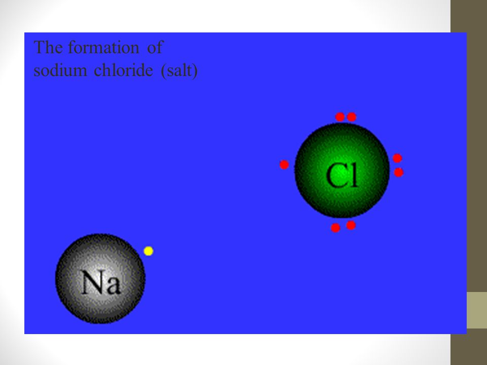 The formation of sodium chloride (salt)