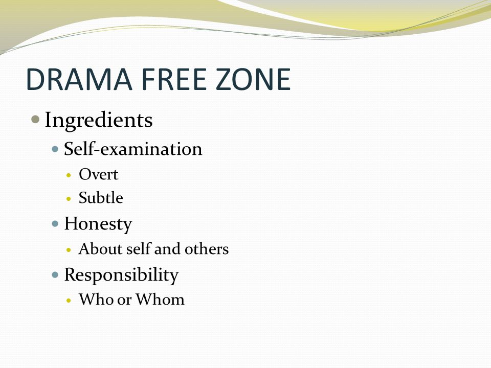 DRAMA FREE ZONE Ingredients Self-examination Honesty Responsibility
