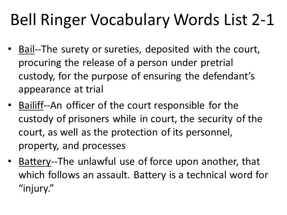 Bell Ringer Vocabulary Words List 2-1