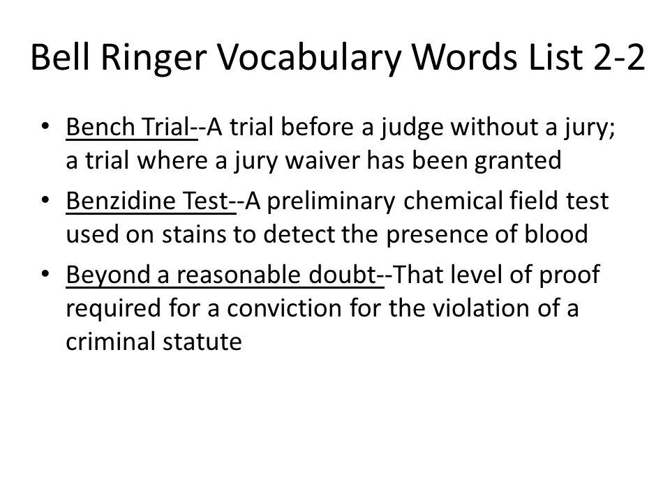 Bell Ringer Vocabulary Words List 2-2