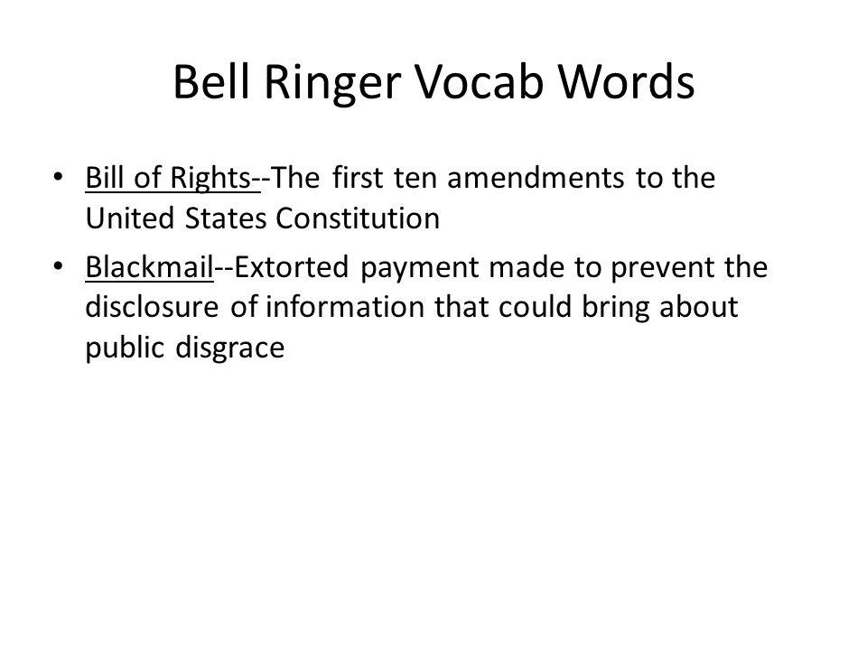 Bell Ringer Vocab Words