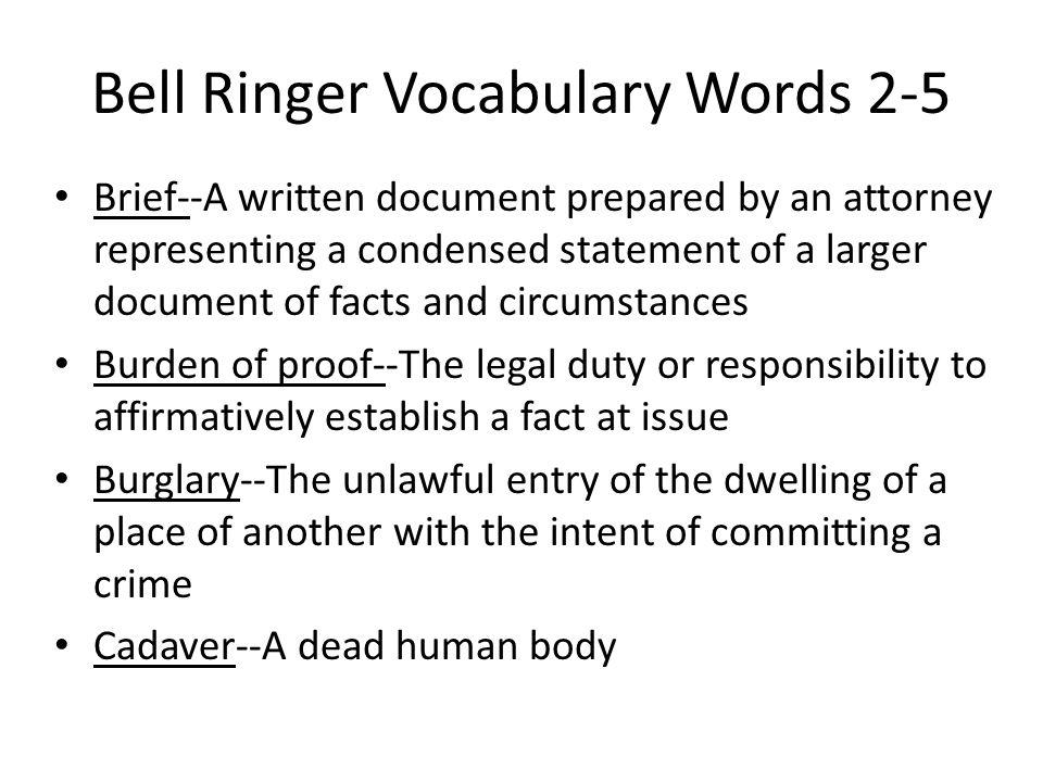 Bell Ringer Vocabulary Words 2-5