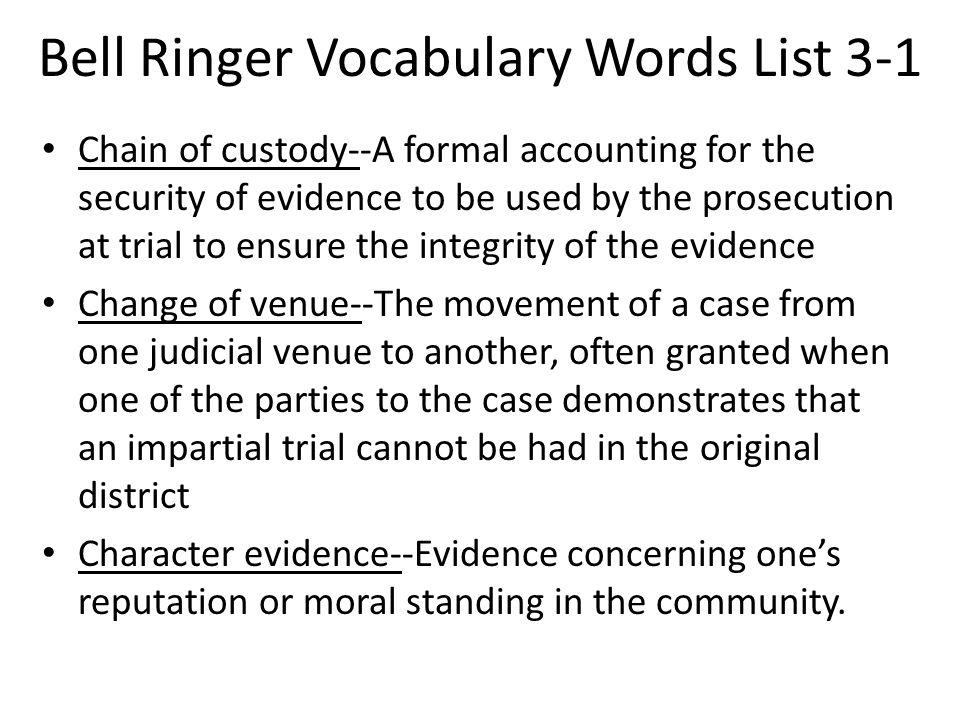 Bell Ringer Vocabulary Words List 3-1