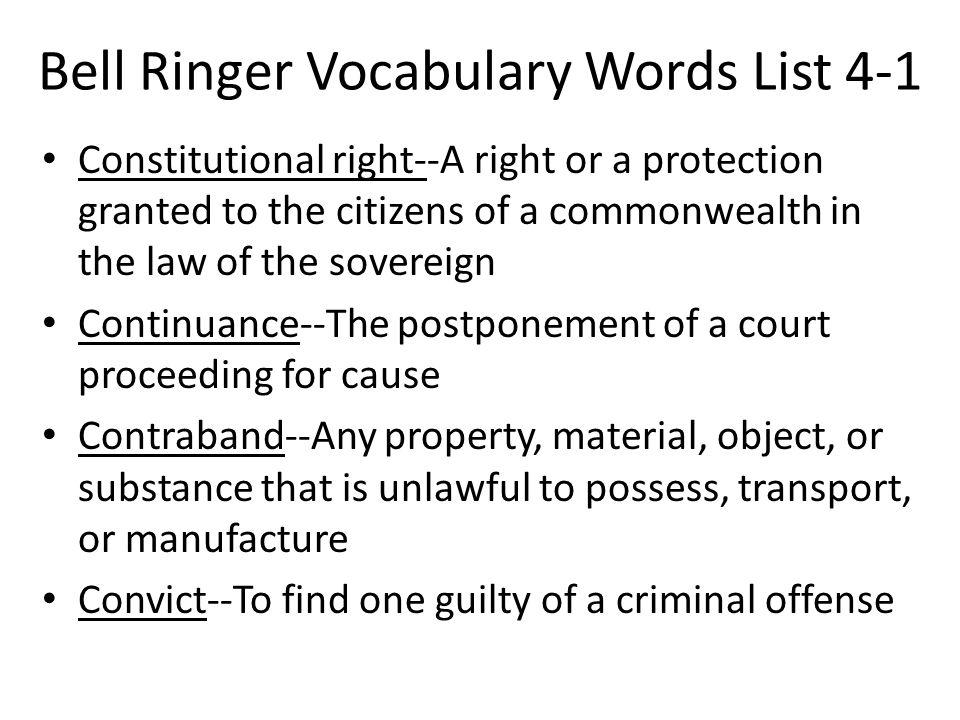 Bell Ringer Vocabulary Words List 4-1