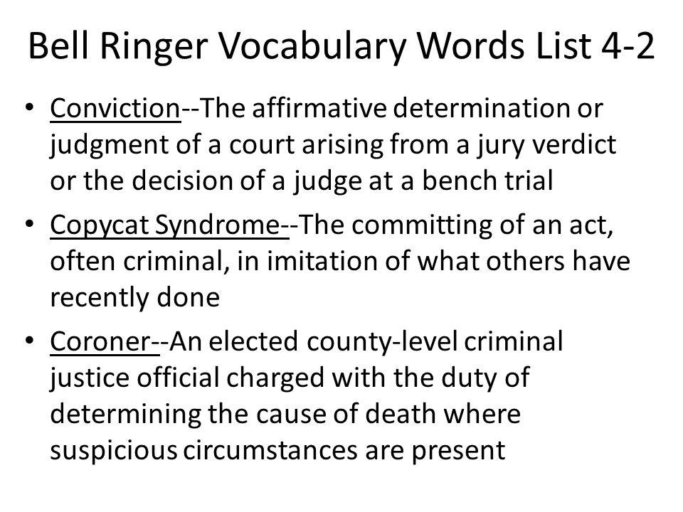 Bell Ringer Vocabulary Words List 4-2
