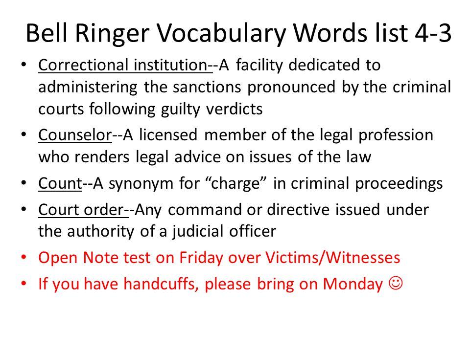 Bell Ringer Vocabulary Words list 4-3