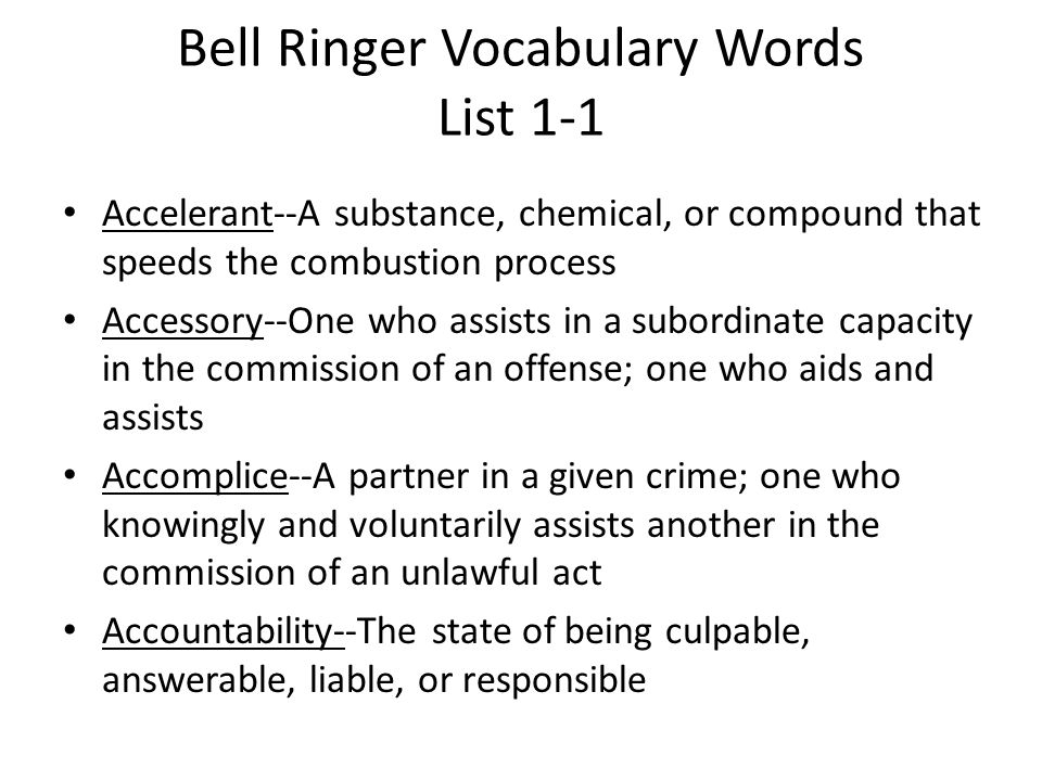 Bell Ringer Vocabulary Words List 1-1