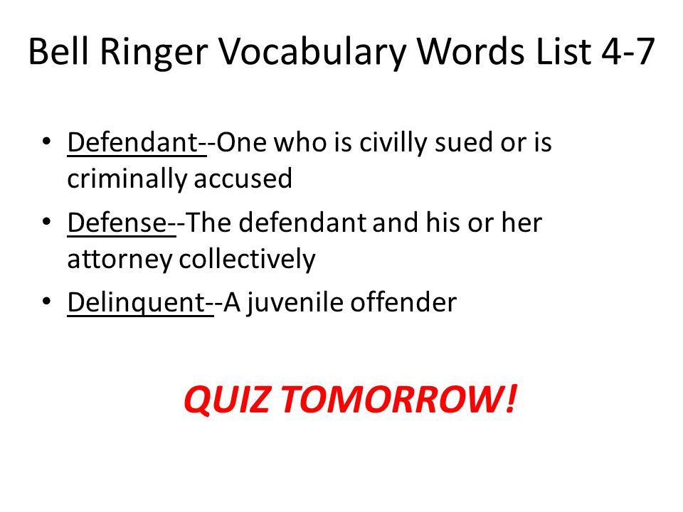 Bell Ringer Vocabulary Words List 4-7