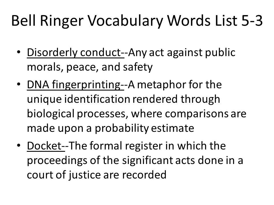 Bell Ringer Vocabulary Words List 5-3