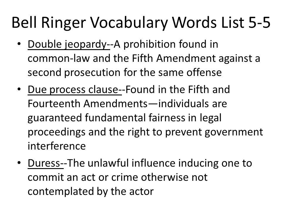 Bell Ringer Vocabulary Words List 5-5