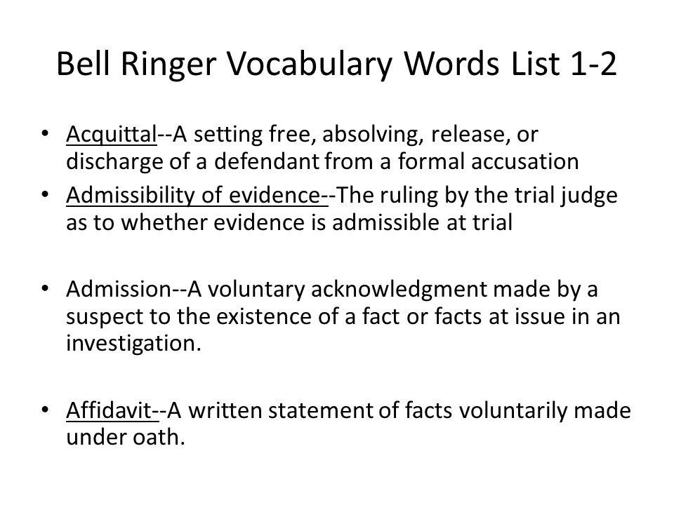 Bell Ringer Vocabulary Words List 1-2