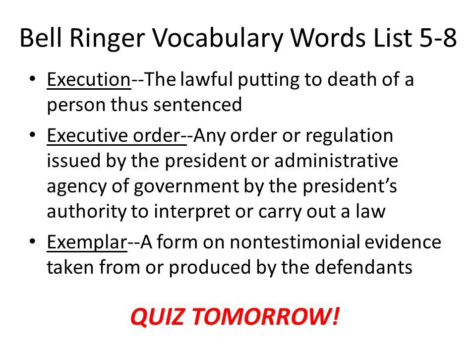 Bell Ringer Vocabulary Words List 5-8