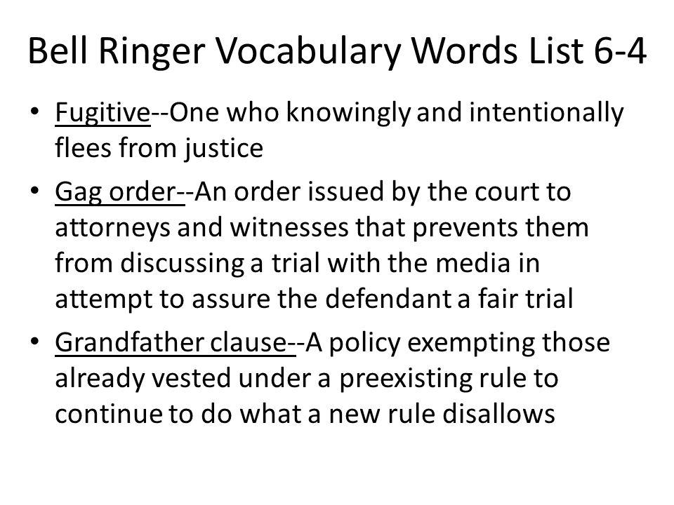 Bell Ringer Vocabulary Words List 6-4