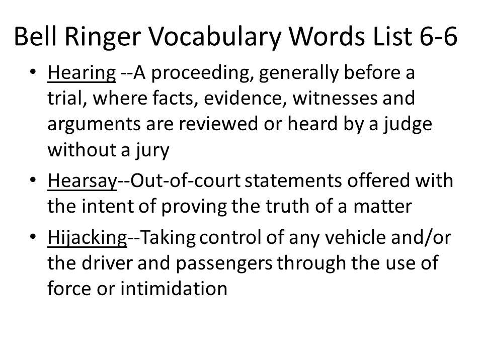 Bell Ringer Vocabulary Words List 6-6
