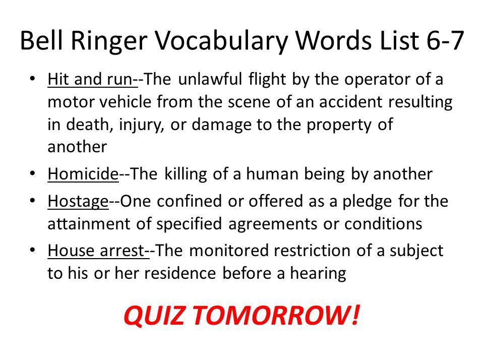 Bell Ringer Vocabulary Words List 6-7