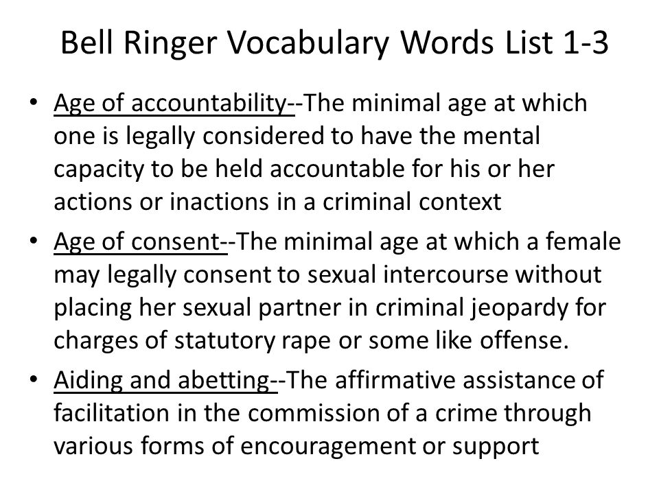 Bell Ringer Vocabulary Words List 1-3