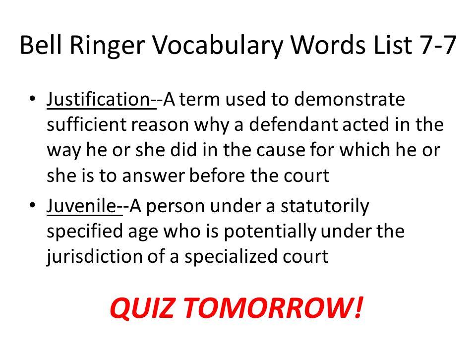 Bell Ringer Vocabulary Words List 7-7