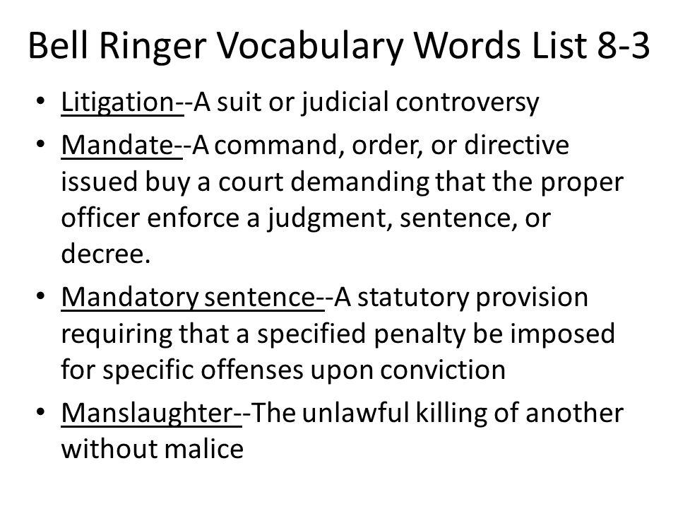 Bell Ringer Vocabulary Words List 8-3