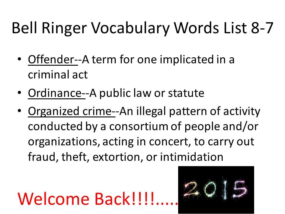 Bell Ringer Vocabulary Words List 8-7