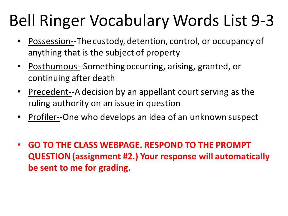 Bell Ringer Vocabulary Words List 9-3