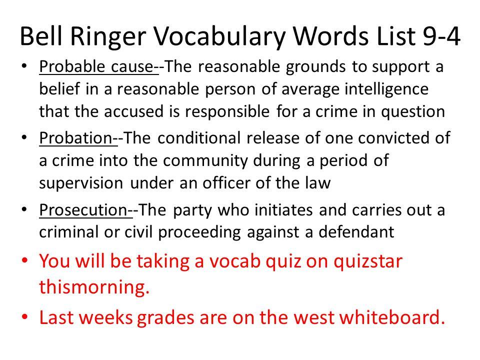 Bell Ringer Vocabulary Words List 9-4